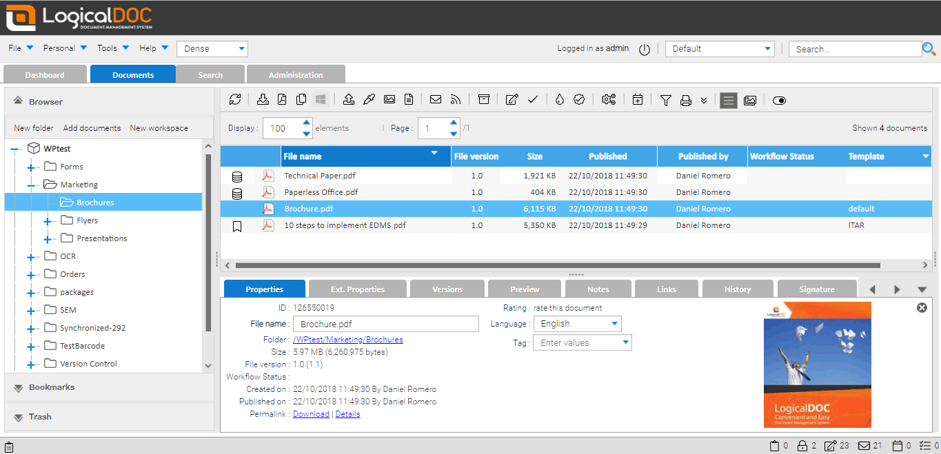Screenshot of LogicalDOC web-based interface: document properties