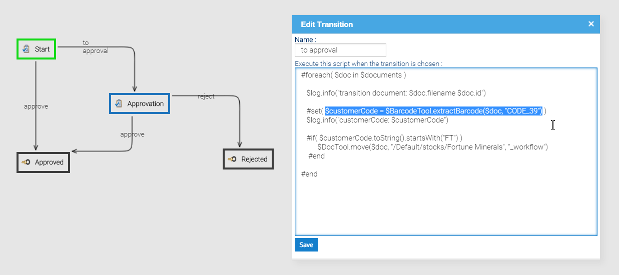 Workflow Automation script on transaction