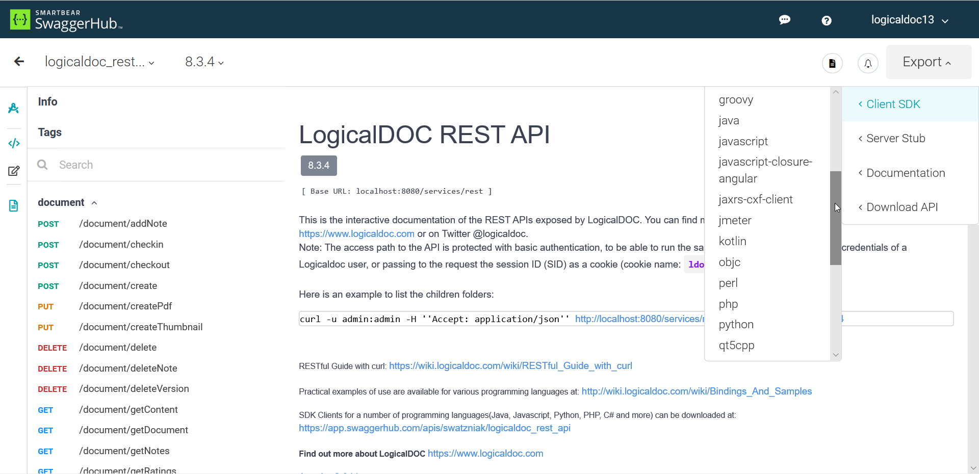LogicalDOC REST API at SwaggerHub