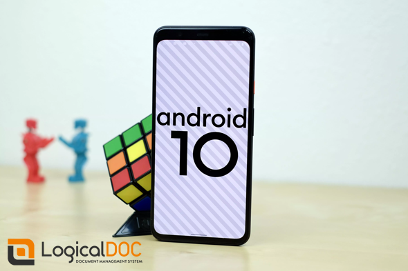 Smartphone with Android 10 and logo LogicalDOC